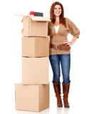 Happy woman moving house Royalty Free Stock Photos