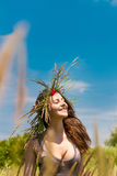 Happy woman on natural background Royalty Free Stock Image