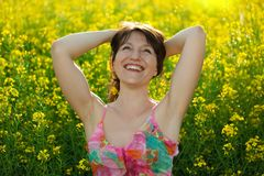 Happy woman in nature Stock Images