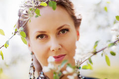 Happy woman on nature Royalty Free Stock Image