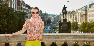 Happy woman near National Museum at Wenceslas Square, Prague Stock Photos