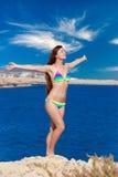 Happy woman near the sea Stock Image