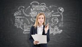Happy woman near a strategy sketch on a blackboard Stock Photography