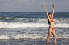 Happy woman in ocean Royalty Free Stock Image