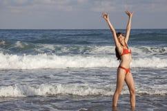 Happy woman in ocean Royalty Free Stock Image