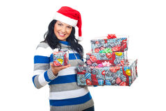Happy woman offering you a small gift Stock Photo