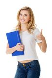 Happy woman with ok hand sign. Happy smiling woman with ok hand sign royalty free stock photography