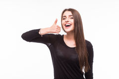 Happy woman with okey gesture. On white Stock Photos
