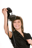 Happy woman with old camera Stock Images