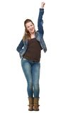 Happy Woman with One Hand in the Air Stock Image