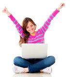 Happy woman online Royalty Free Stock Photography