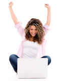 Happy woman online Stock Images