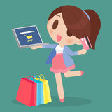 Happy woman online shopping Royalty Free Stock Images