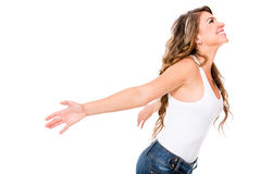 Happy woman with open arms Royalty Free Stock Photo