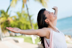Happy woman with open arms Stock Photos
