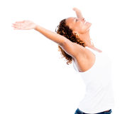 Happy woman with open arms Royalty Free Stock Photos