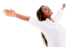 Happy woman with open arms Royalty Free Stock Image