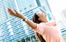 Happy woman with open arms Royalty Free Stock Photography