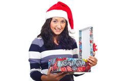 Happy woman open a Christmas gift Stock Images