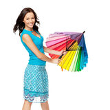 Happy woman opening umbrella Stock Images