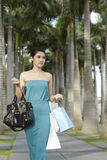 Happy woman out shopping Royalty Free Stock Photography
