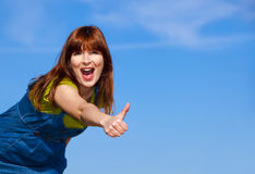 Happy woman on outdoor Stock Images