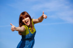 Happy woman on outdoor Royalty Free Stock Photos