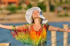 Happy woman outdoor in summer Stock Photography