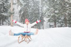 Happy woman outdoor in winter Stock Photography