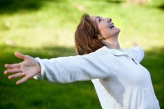 Happy woman outdoors Royalty Free Stock Photos