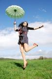 Happy woman outdoors stock photos