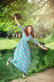 Happy Woman Outdoors. Carefree Girl Stock Photography