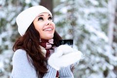 Happy woman outdoors Royalty Free Stock Photo