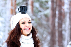 Happy woman outdoors Stock Images