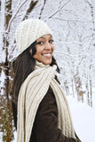 Happy woman outside in winter Royalty Free Stock Photos