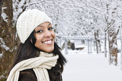 Happy woman outside in winter Royalty Free Stock Image