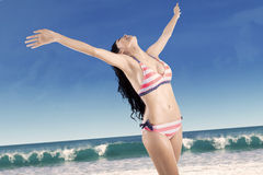 Happy woman with outstretched arms 1 Royalty Free Stock Photography