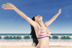 Happy woman with outstretched arms Royalty Free Stock Image