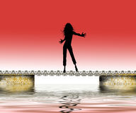 Happy woman over water. Happy woman dancing over water with red gradient background. Graphic illustration Stock Photos