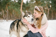 Happy woman owner and dog royalty free stock photos
