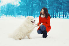 Happy woman owner having fun with white Samoyed dog outdoors Royalty Free Stock Photo