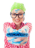 Happy woman with a paint brush Royalty Free Stock Image
