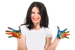Happy woman with painted hands Stock Photo