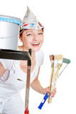 Happy woman while painting Stock Image