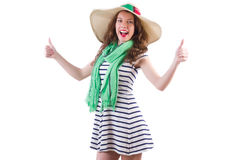 Happy woman in panama and green scarf isolated on Royalty Free Stock Image