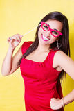 Happy woman with paper glasses photo booth accessoire for party Stock Images