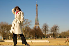 Happy woman in Paris, having fun Stock Photo