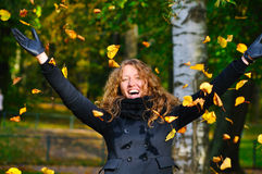 Happy woman in park Royalty Free Stock Photos