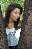 Happy woman in park Royalty Free Stock Image