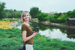 Happy woman in a park Stock Photography